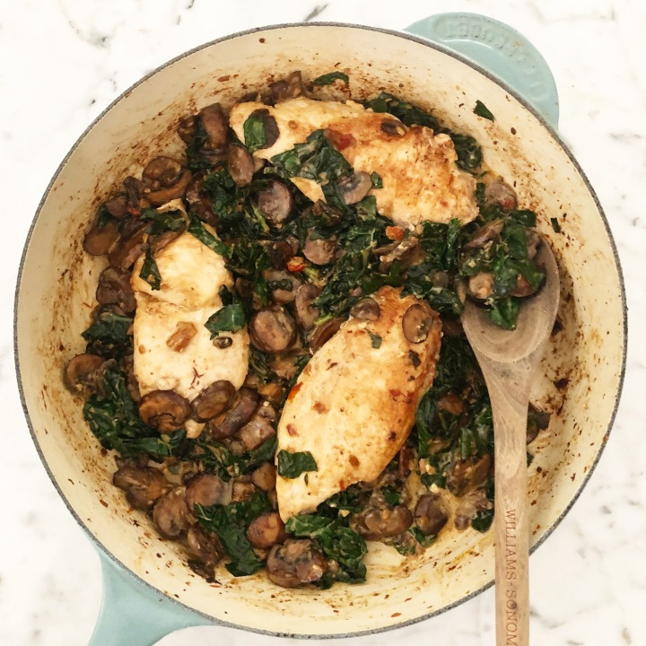 Chicken with Kale, Baby Bella mushrooms, and Mascarponecheese